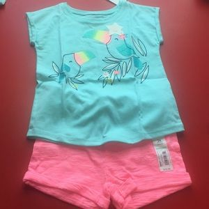 Jumping Bean 2Pc Bundle-Roll Cuff Tee/Knit Shorts